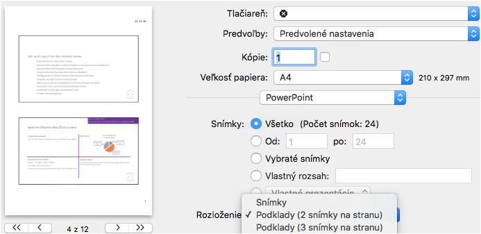 Podklady pre tlač vPowerPointe pre Mac Preview
