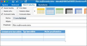 Správa s tabuľkou a karta Návrh tabuľky viditeľná na páse s nástrojmi