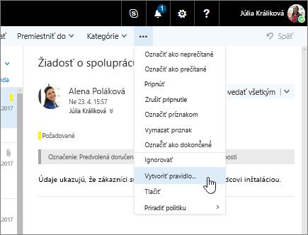 Snímka obrazovky s e-mailovou správou a vybratými položkami Ďalšie príkazy > Vytvoriť pravidlo…