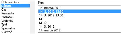 Dialógové okno Formát buniek, príkaz dátum, typ 3/14/12 1:30 PM