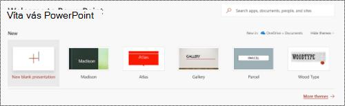 Vitajte v zobrazení so šablónami v programe PowerPoint Online.