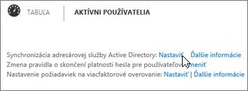 Vyberte položku Nastaviť vedľa možnosti Synchronizácia služby Active Directory