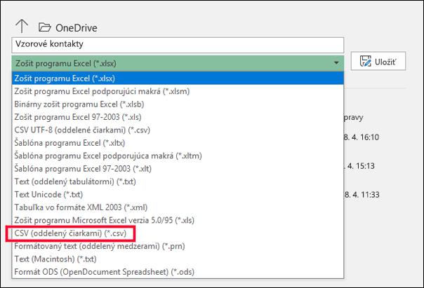 Uložte excelový súbor vo formáte súboru CSV.