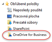 Zoznam s obľúbenými položkami pre OneDrive for Business v službe SP2016