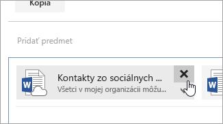 Snímka obrazovky stlačidlom Odstrániť prílohu.