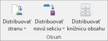Ikony Distribuovať stranu, Distribuovať novú sekciu aDistribuovať knižnicu obsahu na karte Poznámkový blok pre učebné predmety.
