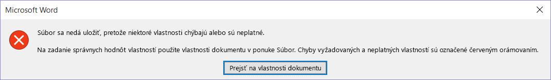 Dialógové okno shlásením, že súbor sa nedá uložiť.