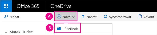 Vytvorenie nového priečinka dokumentov vo OneDrive for business.