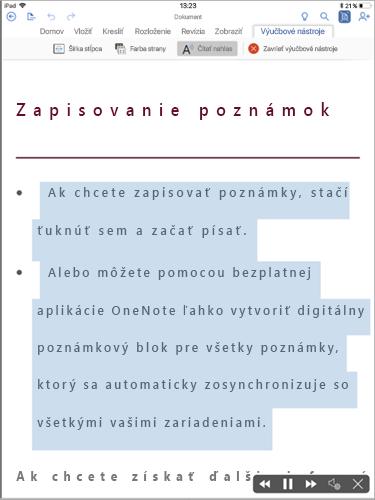 Zobrazuje sa položka Čítať nahlas na karte Výučbové nástroje