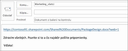 Písanie e-mailovej správy s prepojením