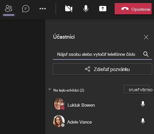 Teams-pozvať niekoho na obrazovku hovoru