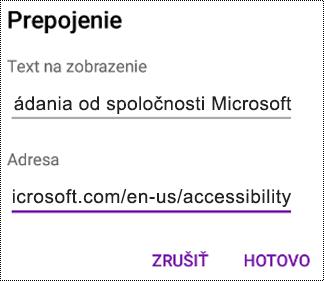 Dialógové okno pridania hypertextového prepojenia vo OneNote pre Android