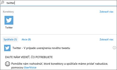 Snímka obrazovky: Vyberte Twitter