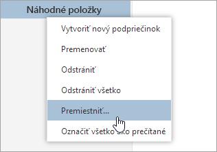 Snímka obrazovky s kontextovej ponuky priečinky premiestniť vybratý