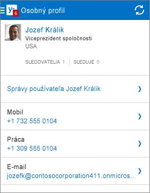 Stránka profilu vaplikácii Yammer