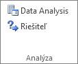 Tlačidlo Analýza údajov vskupine Analýza údajov