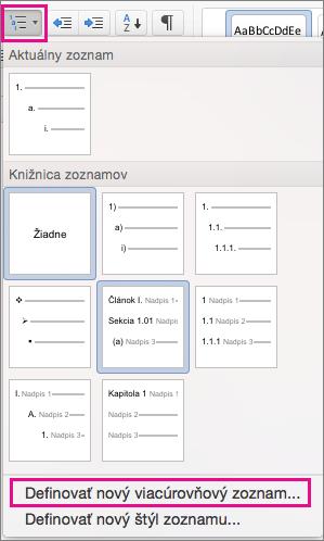 Karta Domov so zvýraznenou ikonou Viacúrovňový zoznam a položkou Definovať nový viacúrovňový zoznam.