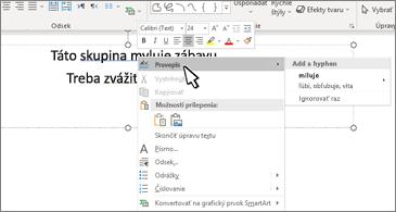Wordový dokument s podčiarknutou gramatickou chybou a návrhom opravy