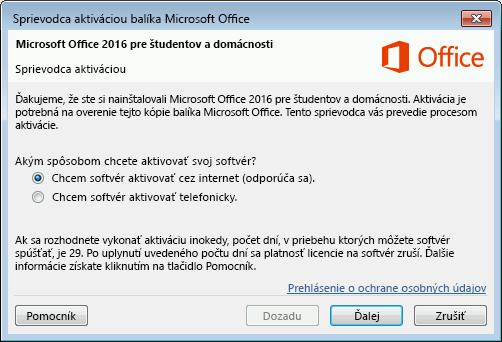 Zobrazuje sa Sprievodca aktiváciou balíka Microsoft Office