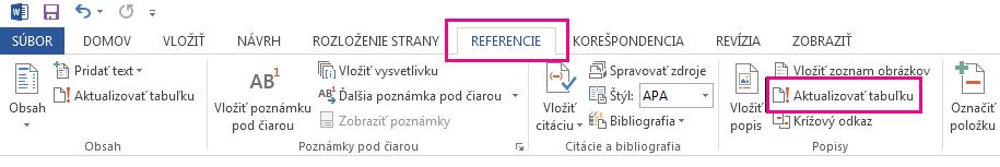 Príkaz Aktualizovať tabuľku sa nachádza na karte Referencie.