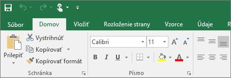 Zobrazí sa pás s nástrojmi s farebným motívom v Exceli 2016
