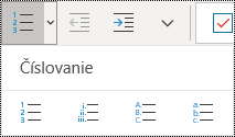 Tlačidlá číslovaného zoznamu na páse snástrojmi ponuky Domov voOneNote pre Windows 10.