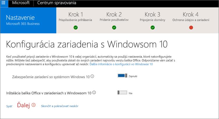 Snímka obrazovky zobrazujúca stránku Príprava zariadení sWindowsom 10