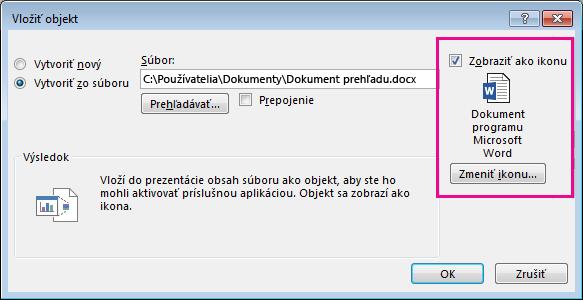 Dialógové okno Vložiť objekt so začiarknutým políčkom Zobraziť ako ikonu