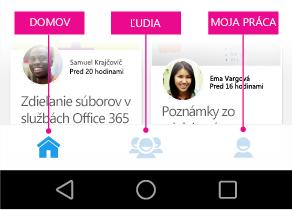 Delve pre Android – hlavná ponuka