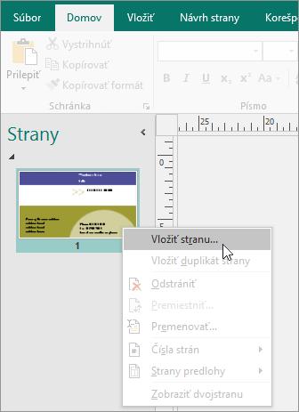 Možnosť Vložiť stranu na navigačnej table Strany v Publisheri.