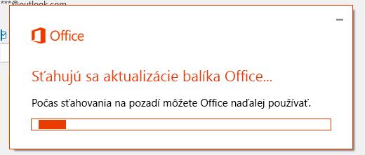 Dialógové okno sťahovania aktualizácií balíka Office