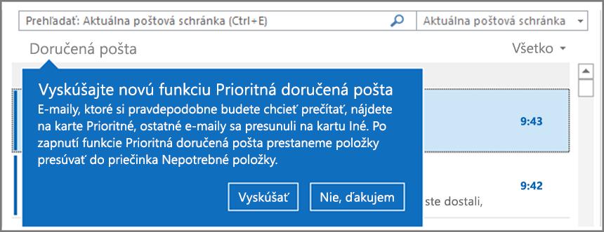 Obrázok vzhľadu prioritnej doručenej pošty po tom, čo používatelia opätovne otvoria Outlook.