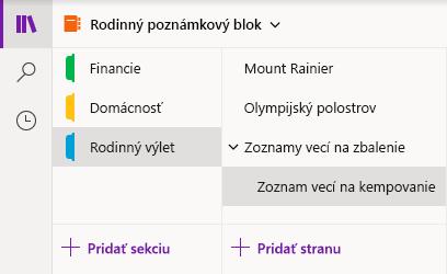 Rozhranie navigácie vo OneNote pre Windows 10
