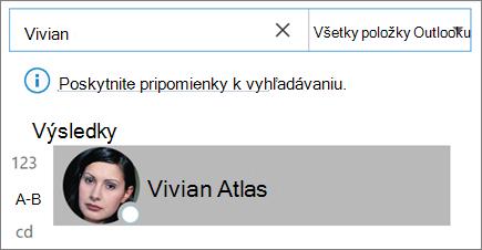 Hľadanie kontaktov pomocou vyhľadávania v Outlooku