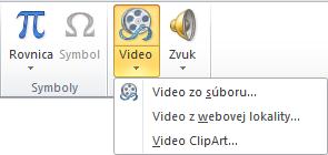 Tlačidlo na páse s nástrojmi slúžiace na vloženie online videa v PowerPointe 2010