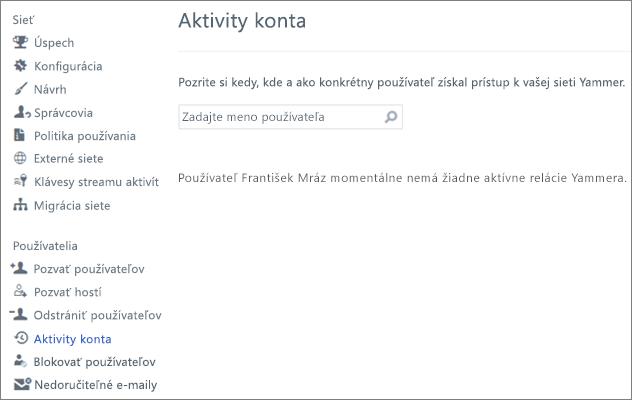Snímka obrazovky aktivity konta pre používateľa so zobrazením nie je aktívna Yammer relácie (odhlásení)