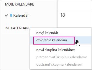 Ponuka otvorenia kalendára vaplikácii Outlook Web App