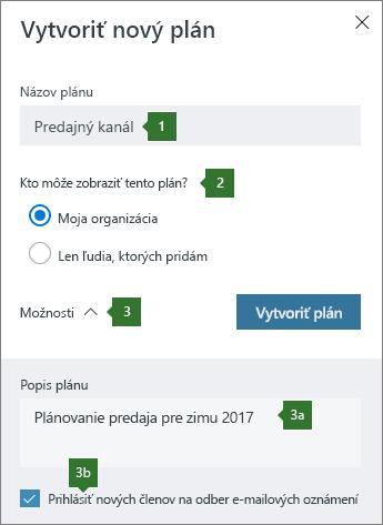 Vytvorenie nového plánu