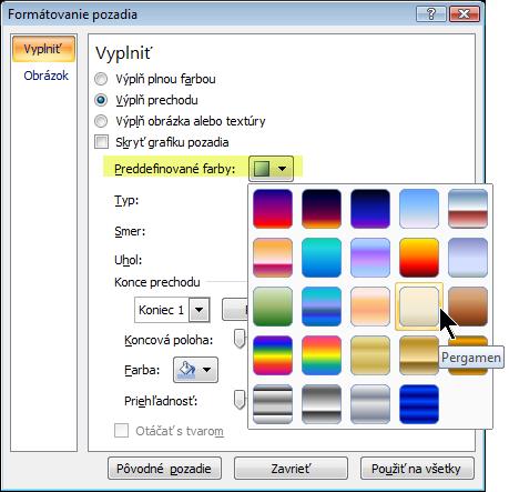Ak chcete použiť preddefinovaný prechod, vyberte možnosť Preddefinované farby a potom vyberte možnosť.