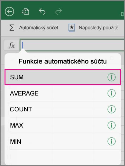 Ponuka Automatický súčet