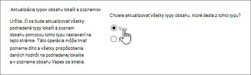 Výberom položky aktualizovať všetky typy obsahu
