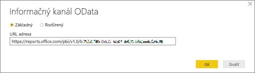 URL adresa informačného kanála OData pre Power BI desktop