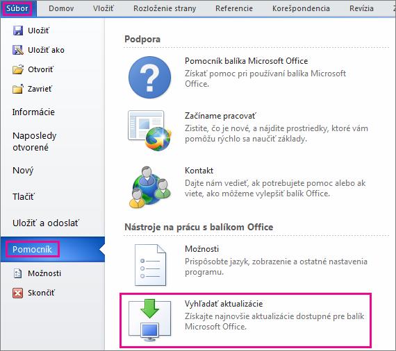 Manuálna kontrola aktualizácií balíka Office vo Worde 2010