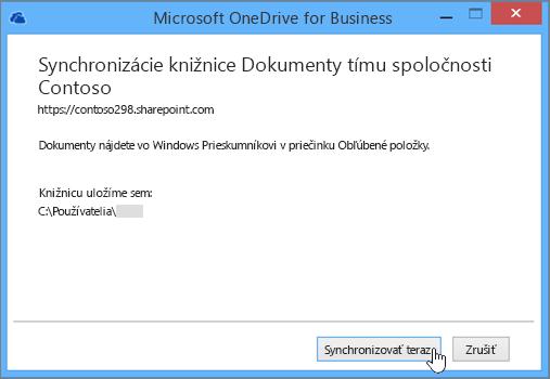 Ak chcete spustiť synchronizáciu súborov zvašej tímovej lokality spočítačom, vyberte tlačidlo Synchronizovať.