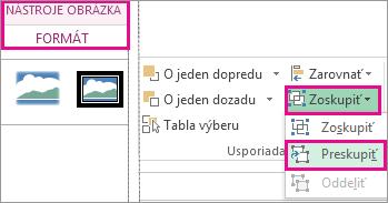 Tlačidlo Preskupiť na karte Nástroje obrázka – Formát