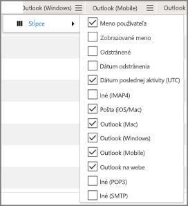 Snímka obrazovky: zostava o používaní e-mailových aplikácií v službách Office 365 – výber stĺpcov