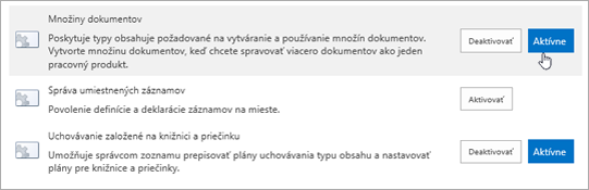 Príklady funkcií kolekcie lokalít, ktoré môžete v SharePointe aktivovať