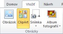 Príkaz obrázkov ClipArt na karte Vložiť na páse s nástrojmi v programe PowerPoint 2010