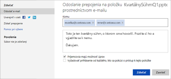 Odoslanie prepojenia na prezentáciu e-mailom