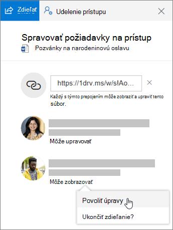 Snímka obrazovky so sekciou Zdieľanie na table Podrobnosti pre zdieľaný súbor.
